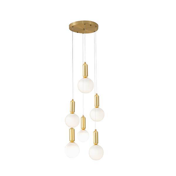 Gold-glass ball-pendant lamp