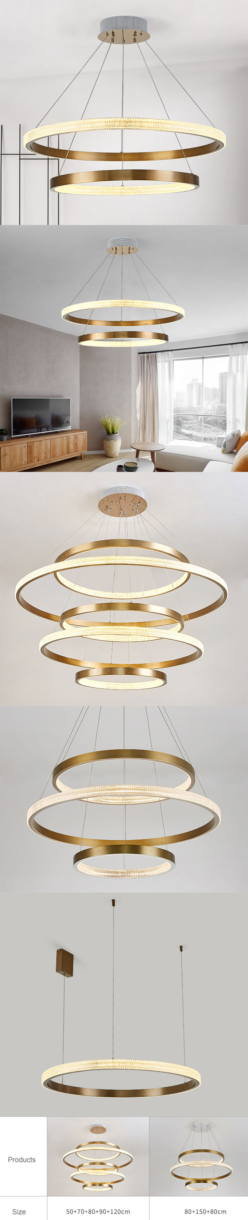 LED round acrylic circle lighting for living room and dining room